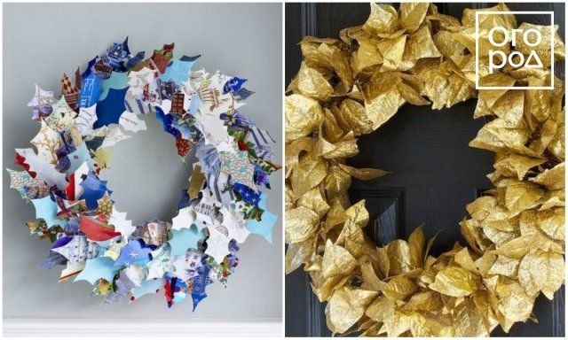 рождественский венок из бумажных листьев