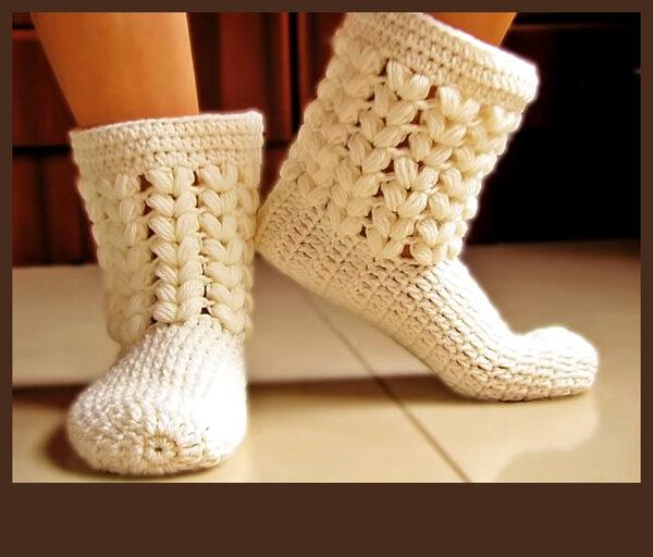 Как связать элегантные носки-сапожки с оригинальным узором, крючком. Просто, быстро и стильно