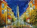 Ночная современная живопись мастихином. Прогулка по ночному городу Bautzen в Германии. Картины маслом.