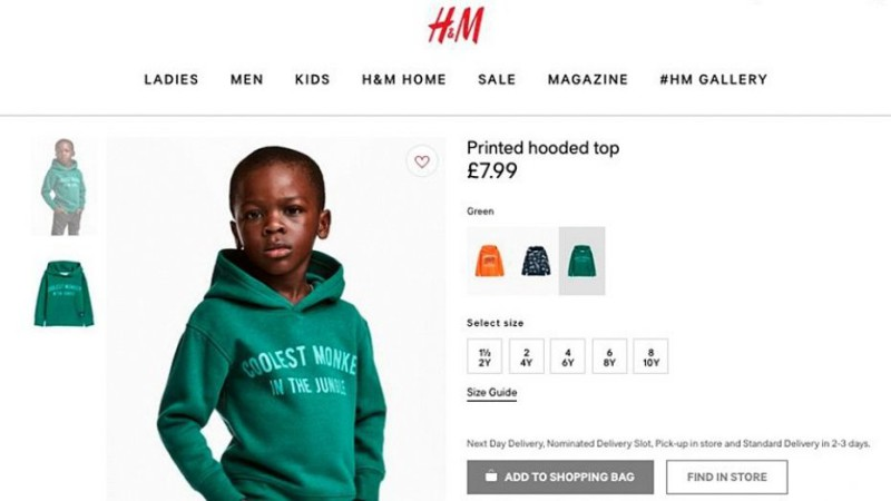 «Самая крутая обезьянка в джунглях»: H&M извинилась за рекламу с чернокожим ребенком