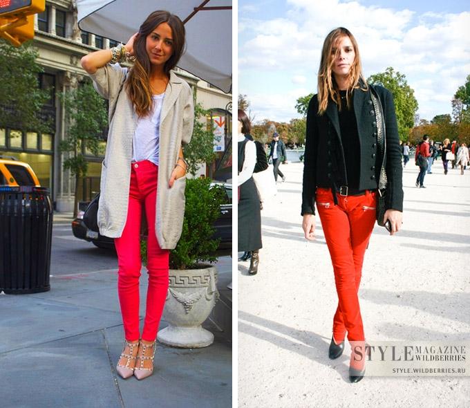 Красные джинсы — яркий летний тренд