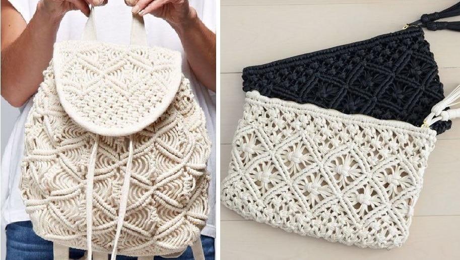 Прекрасные, ажурные сумочки и рюкзаки в технике макраме