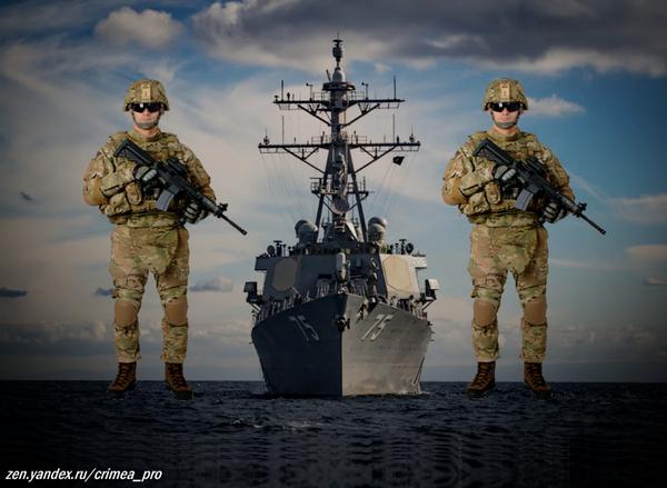 """Эсминец """"Дональд Кук"""" с военнослужащими США (фото коллаж)"""