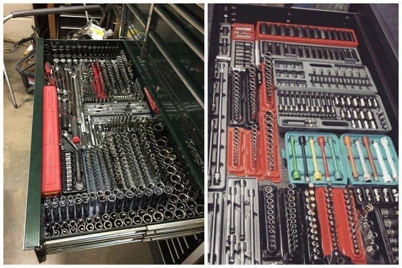 4. Еще один пример того, что инструменты могут лежать аккуратно, а не валяться в одной куче гараж, идеальный, инструменты, мастерская, перфекционизм, порядок