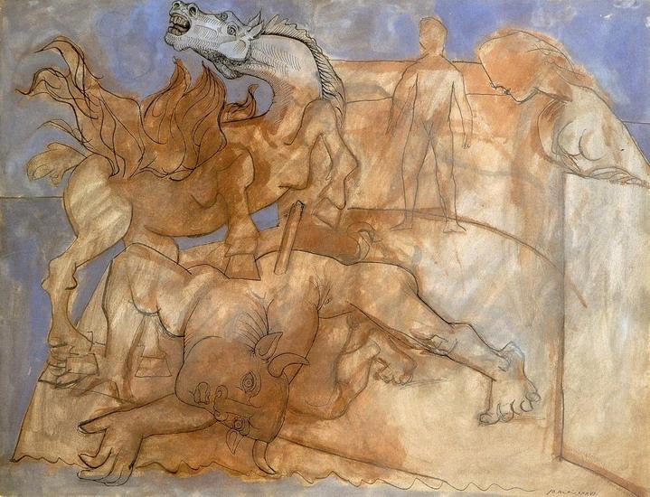 Пабло Пикассо. Раненый Минотавр, лошадь и персонажи. 1936 год