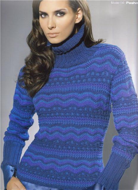 Очень красивый женский свитер спицами