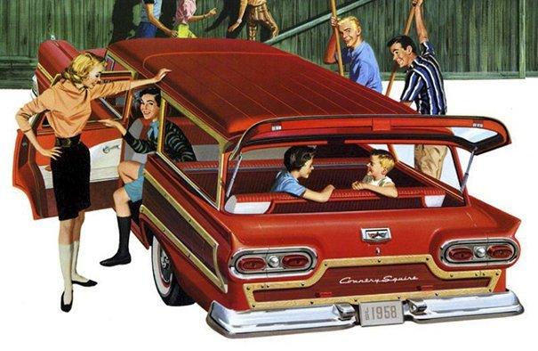 17. 60-е годы, автомобили, легковой автомобиль, старые машины, старые фото, сша, универсал, фургон