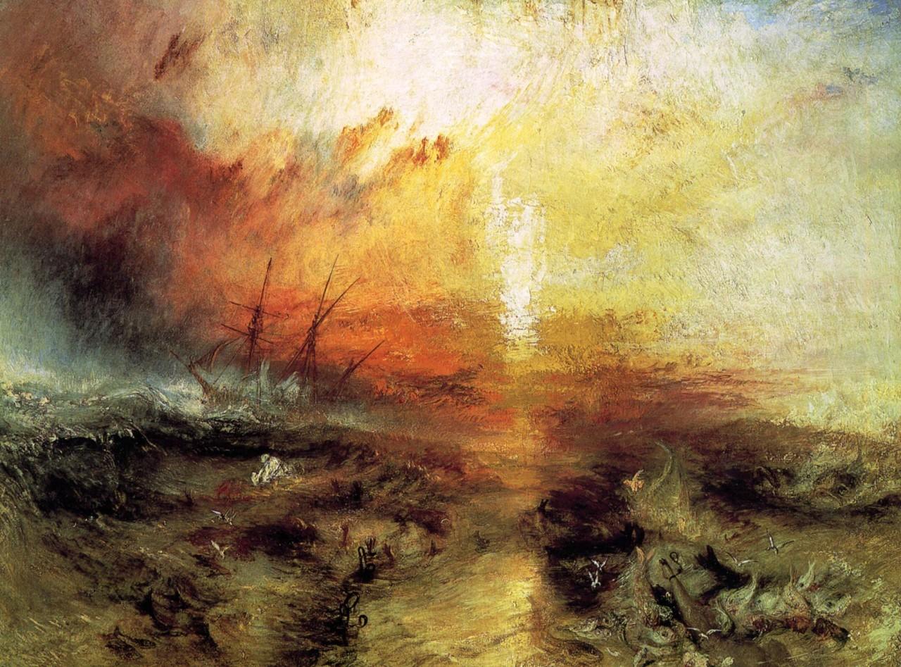Уильям Тернер «С судна, перевозящего рабов, бросают за борт умирающих и мёртвых, надвигается тайфун»