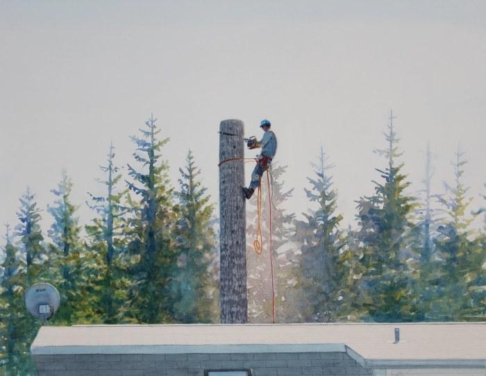 Мужчина опиливает деревья. Автор: Tim Gardner.