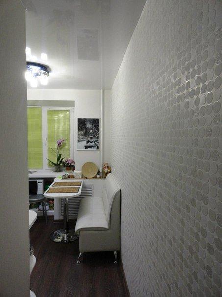 Дизайн угловой белой кухни 5,7 кв.м
