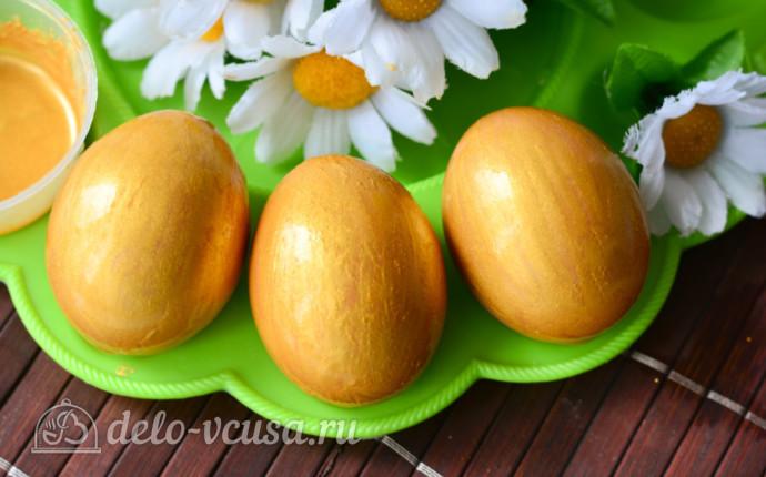 Как покрасить яйца в золотой цвет кандурином