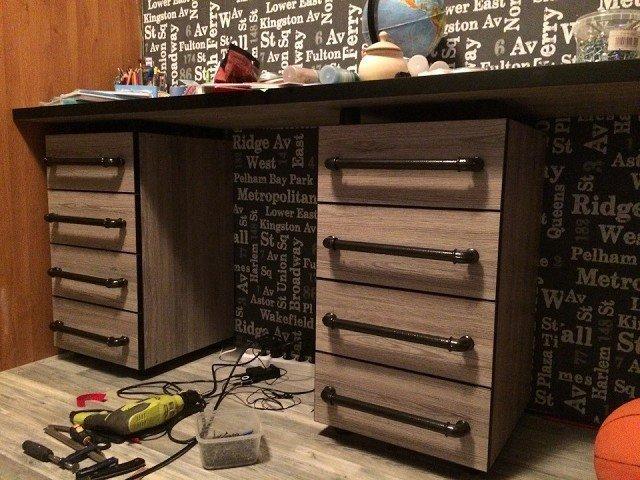 Полка и письменный стол в стиле Лофт. Делал для сыновей 13 и 14 лет лофт, письменный, полка, своими руками, сделай сам, стол