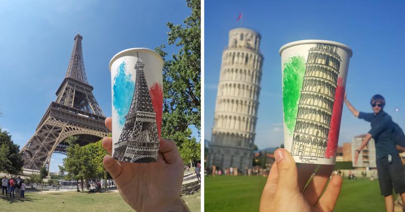 Художник-путешественник создает произведения искусства на бумажных стаканчиках