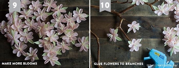 Как сделать цветы вишни из бумаги - Шкаф и точка