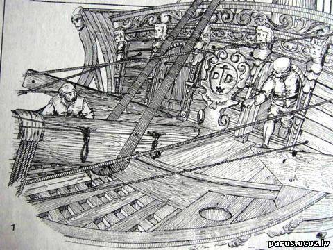 Туалет на паруснике Лига историков, Парусный флот, Туалет, Гальюнная фигура, Длиннопост