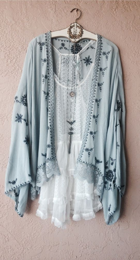 Free People Ice blue embroidery gypsy kimono: