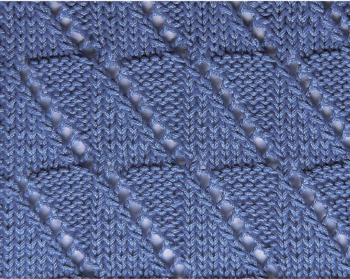Узор спицами «Диагональная клеточка»