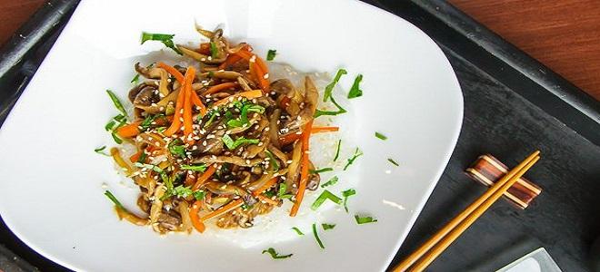 Жареные грибы по-корейски - рецепт