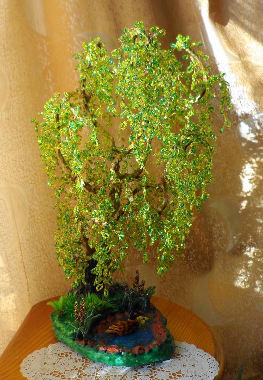 Плакучая ива из бисера с пошаговым фото