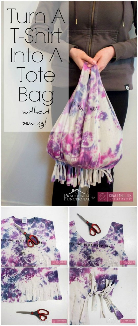 How to turn a tee into a bag without sewing || I think I'll do this with my church youth group!: