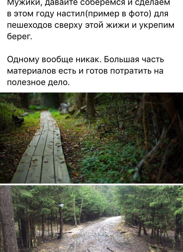 Помост на месте лесной тропинки своими руками