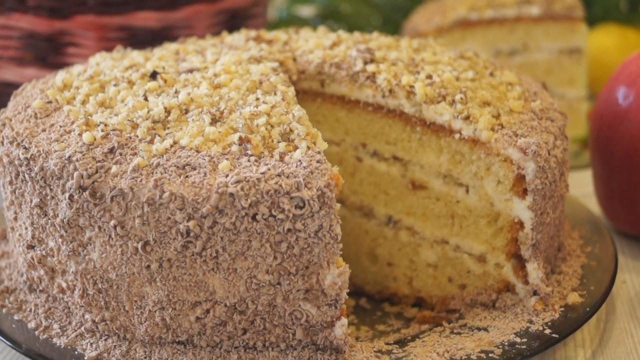"""Торт """"Сметанник"""" с орехами - вкусно, готовится быстро и совсем просто!"""