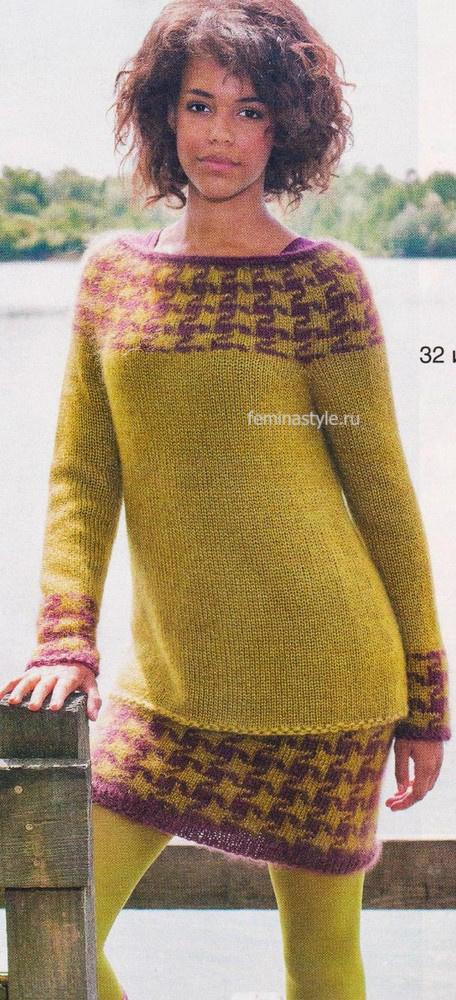 Пуловер и юбка спицами