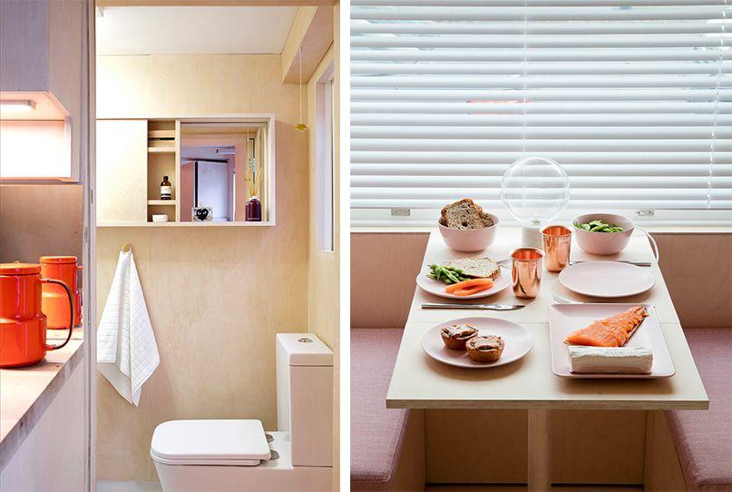 Небольшая ванная и столовая