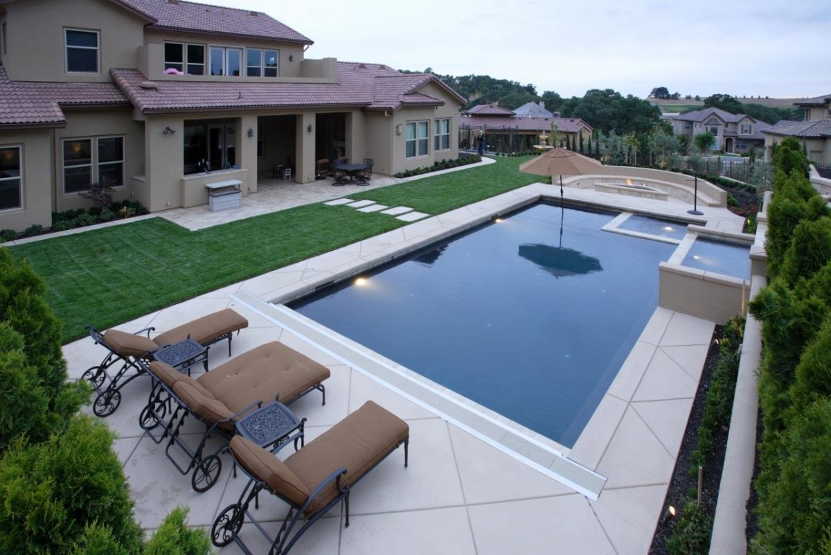 Дизайны участков с бассейном фото