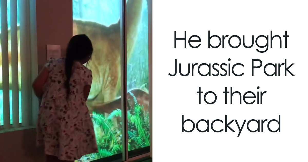 Genius Dad Uses Projector To Surprise Daughter, Makes It Look Like Dinosaurs Are Roaming Their Backyard