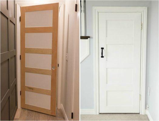 Плоские межкомнатные двери можно преобразовать с помощью накладок из фанеры и свежей покраски бюджетно, дом, идеи, креатив, ремонт, своими руками, советы, фото