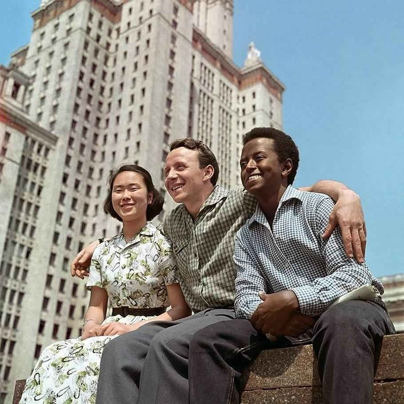 Иностранные студенты МГУ. 1961 г. история, люди, мир, фото
