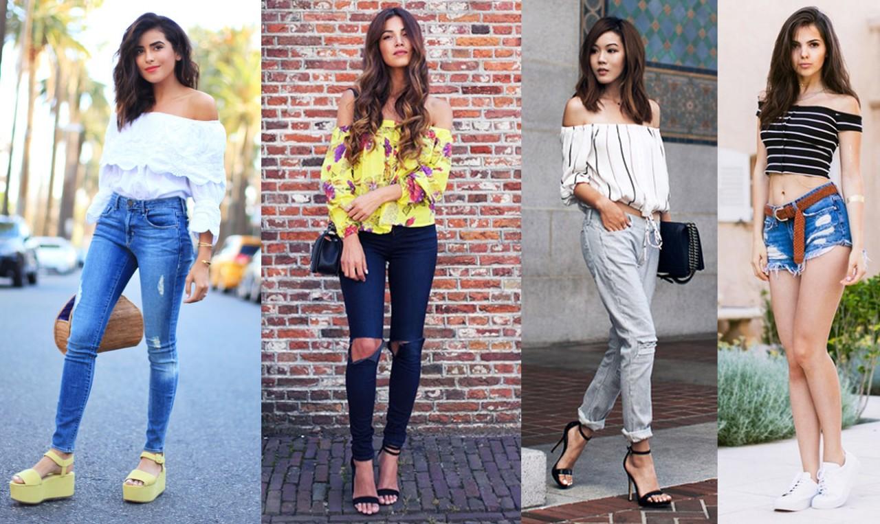 Чувственный тренд: модные блузки с открытыми плечами — крутые образы на фото
