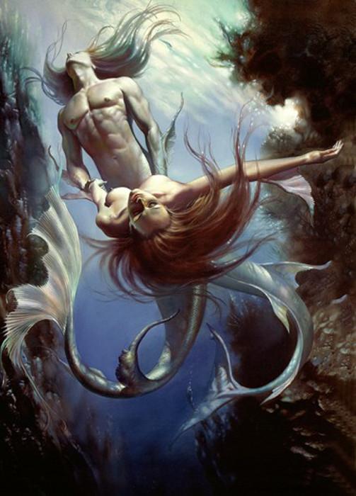 Тритон и русалка. Автор: Boris Vallejo.