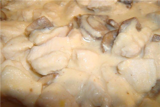 Куриная грудка с шампиньонами в сливках в мультиварке рецепты