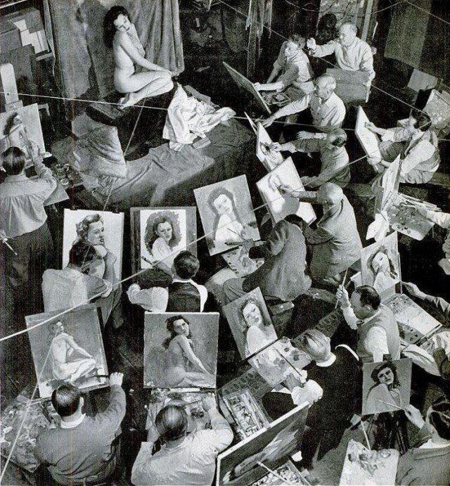 Businessmen's Art Class, 1944 история, люди, мир, фото
