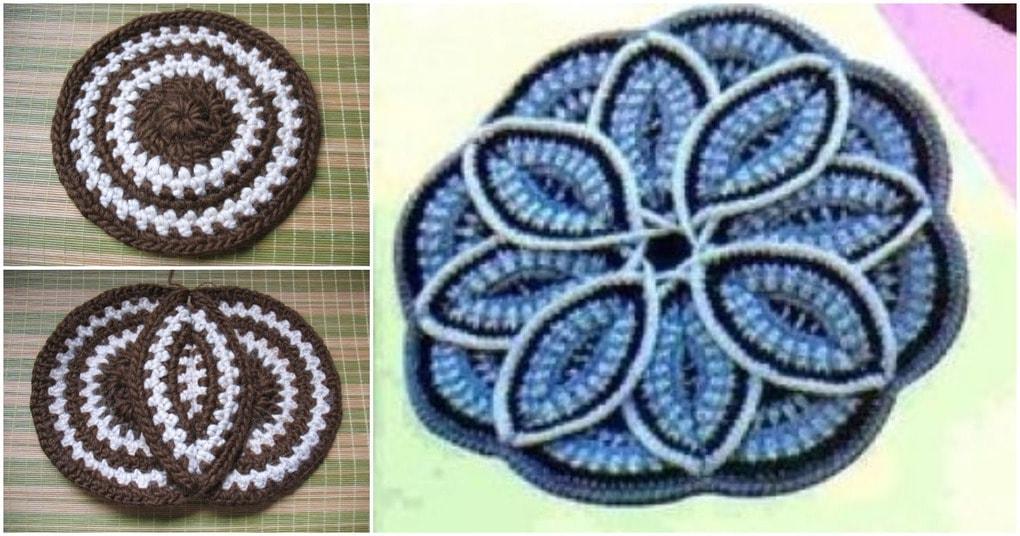 Оригинальная сидушка в форме объемного цветка. Легкая схема — необычная сборка