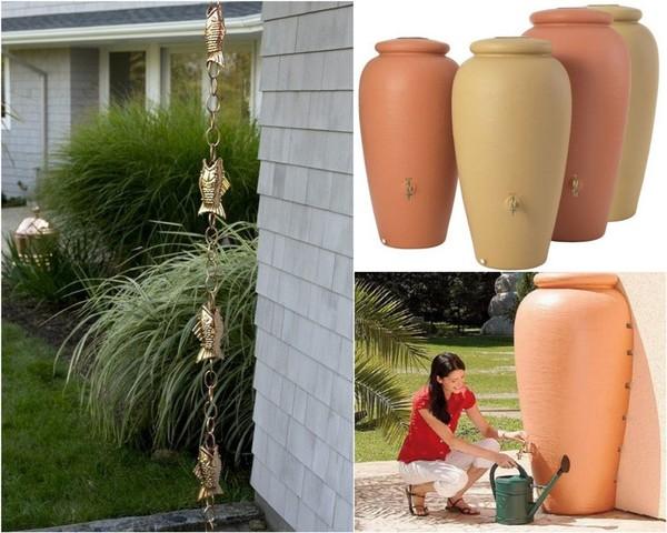 Красивые сосуды и цепочки для сбора дождевой воды