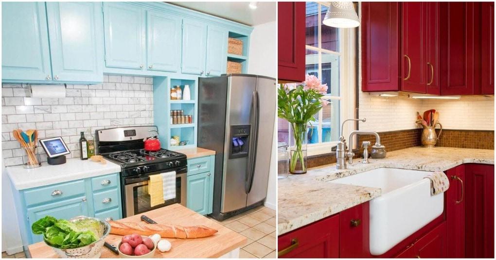 Создаем настрой на кухне — старый гарнитур в новом цвете