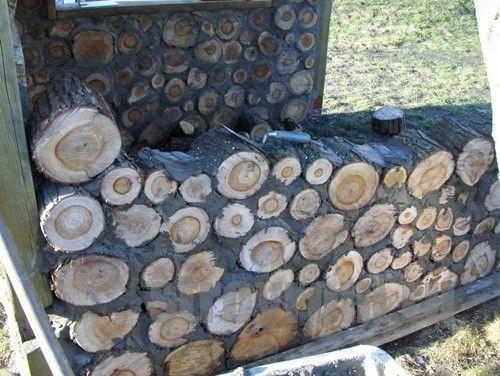 Забор из спила дерева 114