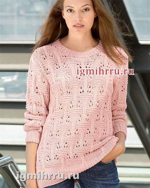 пуловер с фантазийным плетеным узором