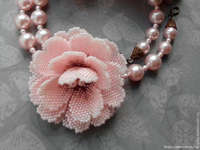 Колье цветок из бисера мастер класс с пошаговым