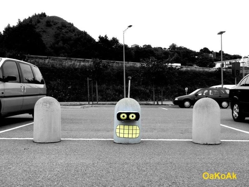 Бендер на парковке вандализм, граффити, инсталляция, искусство, мир, творчество, улица, художник