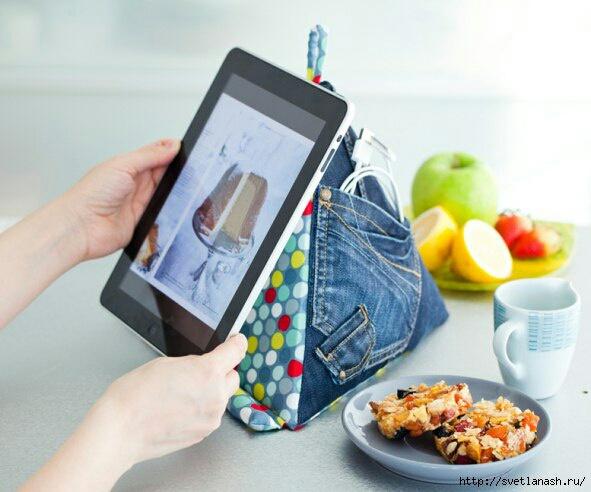 Джинсовая подставка под планшет (DIY)