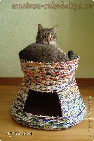 Домик для кошки из газет