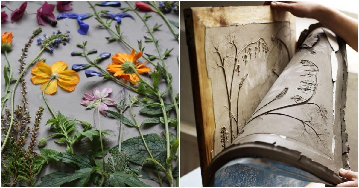 Художница выкладывает цветы на картоне и делает невероятные картины