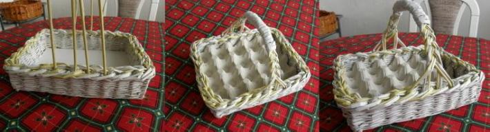 Корзинка-лоток для пасхальных яиц из газетных трубочек. Мастер-класс
