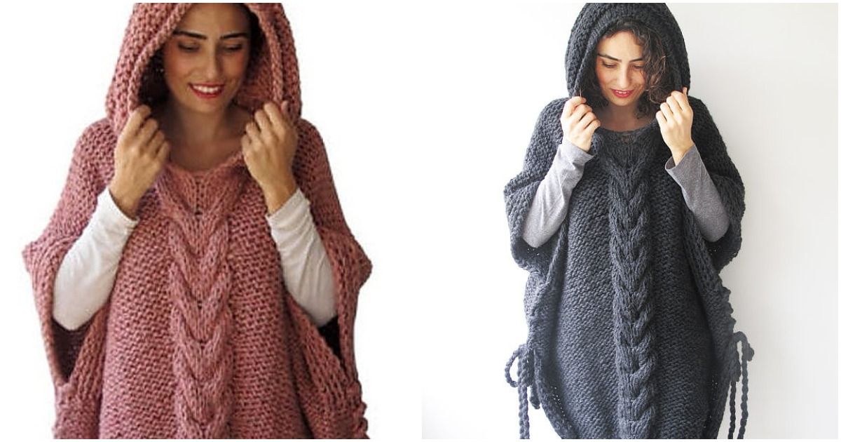 Стильное пончо с капюшоном — универсальная и уютная вязаная одежда