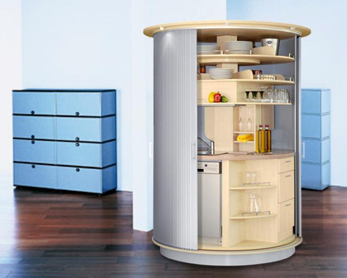 Дизайн вращающейся компактной кухни