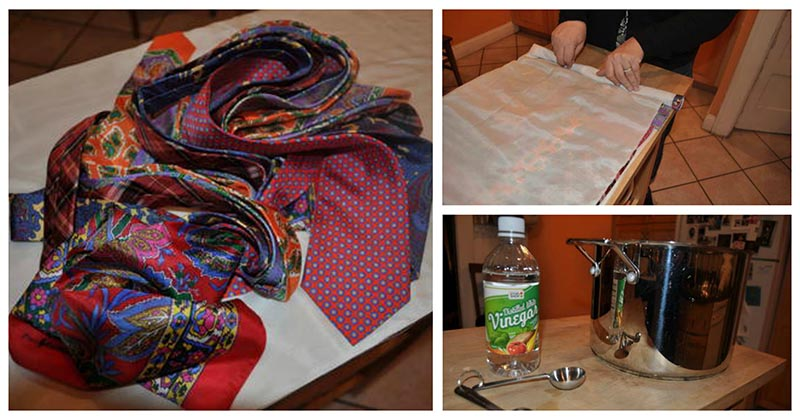 Интересный «бабушкин» метод окраски ткани при помощи старых галстуков и платков